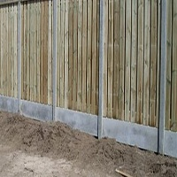 Schutting hout en beton combo