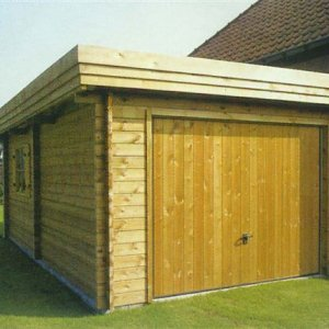 Houten garage in Blokhut stapel systeembouw 44 mm -