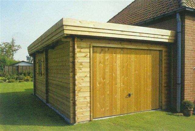 Houten Aanbouw Garage In Blokhut Systeembouw