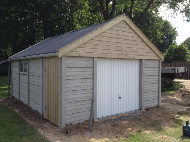 Betongarage in grijs steen of hout motief for Garage 2 pans