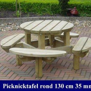 Houten ronde kinder-picknicktafel Ø 130cm -