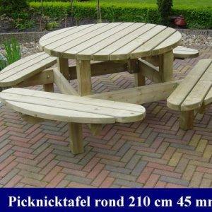 Grote houten ronde picknicktafel Ø 210cm -