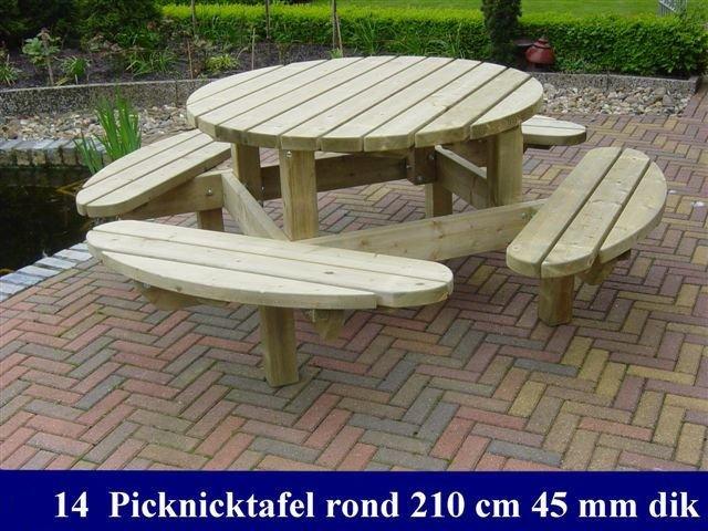 Grote houten ronde picknicktafel 210cm - Grote ronde houten tafel ...