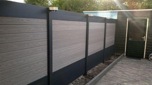 aluminium schutting combinatie met volkern composiet. Black Bedroom Furniture Sets. Home Design Ideas