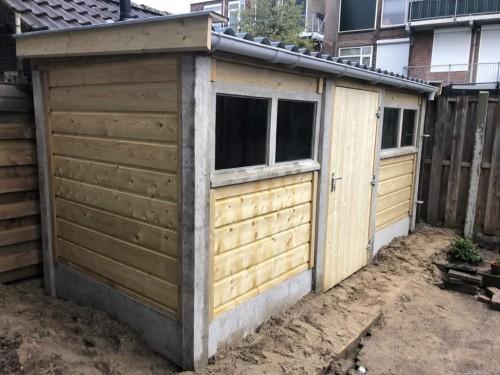 Beton hout combinatie berging Onderhoudsarm -
