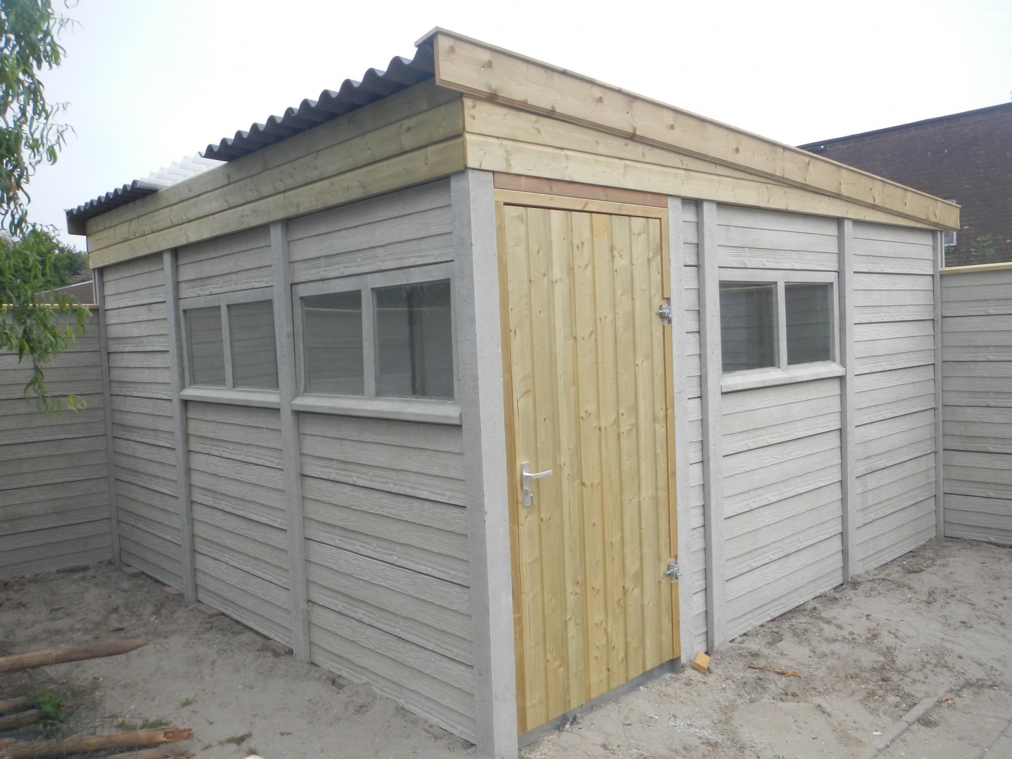 Berging in beton hout combinatie bouw sbnbouw