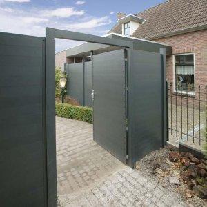 aluminium poorten met rvs scharnieren aanslag en slot -