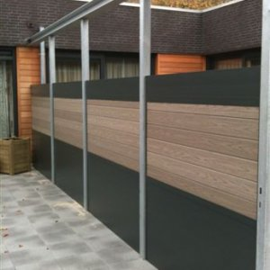 Aluminium schutting combinatie vol kern composiet -