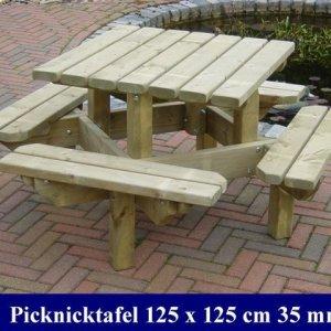 Vierkanten houten kinder picknicktafel tuinmeubelen FSC KEUR MERK KOMO KEUR  -