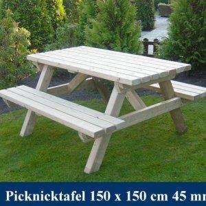 Vierkanten Houten Picknicktafel Tuinmeubelen FSC KEURMERK KOMO KEURMERK -