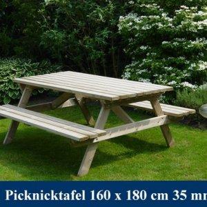 Middel grote houten picknicktafel Tuinmeubelen FSC KEURMERK KOMO KEURMERK -