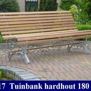 Tuinbank hardhout ergonomisch model blank stalen onderstel 2020 -