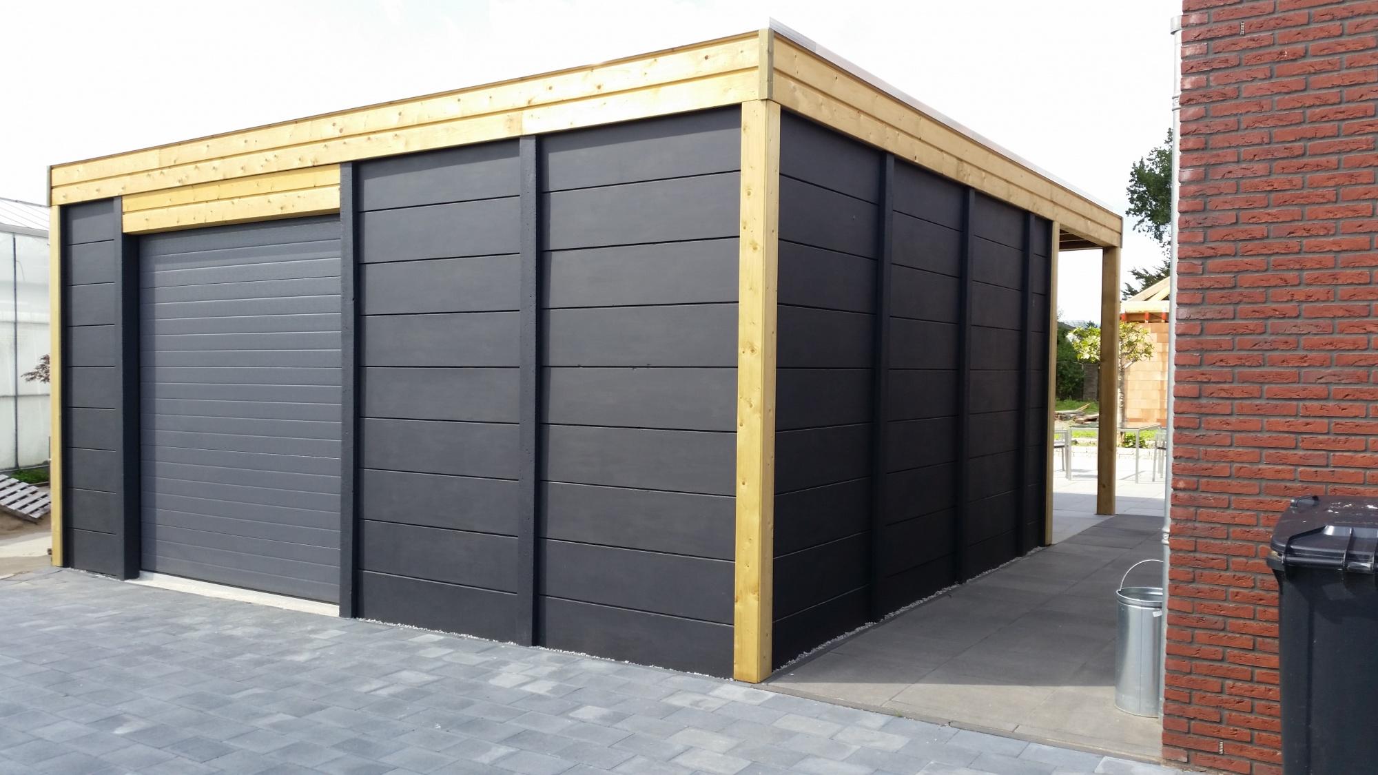 Stenen Garage Prijs : Betonnen garage enkelzijdig beton systeembouw handvorm steenmotief