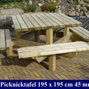 Tuinmeubelen Tuinmeubilair Houten Geimpregneerde vierkante picknicktafel  FSC Keurmerk Komo Keurmerk. -